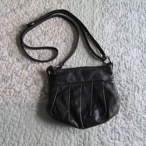 Vintage! Black Leather Crossbody Bag Made in Italy
